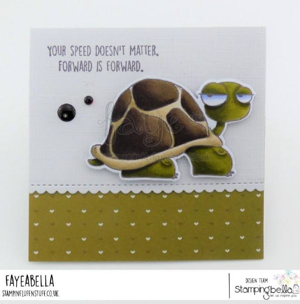 www.stampingbella.com: rubber stamp used: ODDBALL TURTLE  Card made by FAYE WYNN JONES