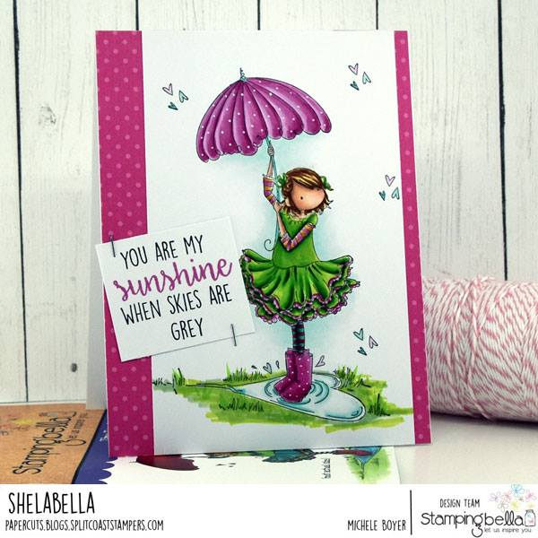 www.stampingbella.com: rubber stamp used: TINY TOWNIE RACHEL LOVES THE RAIN.  Card made by MICHELE BOYER