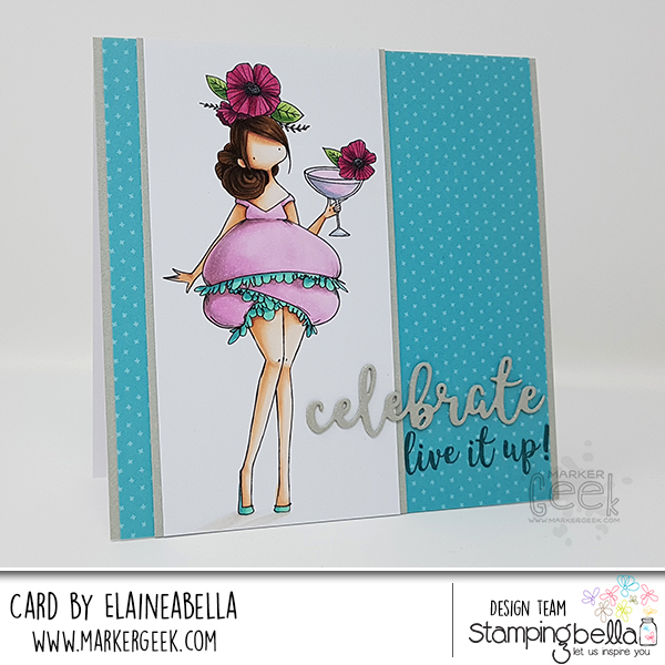 Stamping Bella: Marker Geek Monday Curvy Girl with a Cocktail Card & Copic
