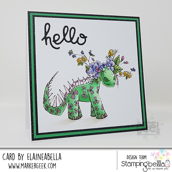 Stamping Bella Wonderful Wednesday: Tumbleblossom Dinosaur Card & Copic Colouring Video