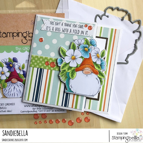 Stamping Bella: Thursday with Sandiebella - Create an On the Edge Card feat. Flowery Gnome