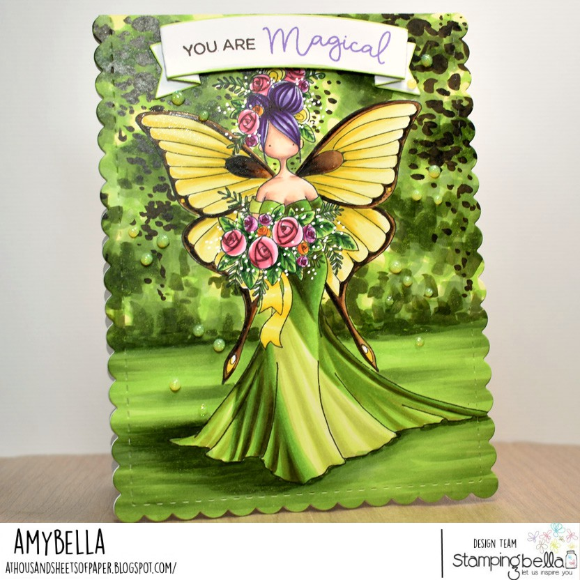 www.stampingbella.com.  rubber stamp used : CURVY GIRL BRIDE and TINY TOWNIE BUTTERFLY GIRL BABETTE.  Card by Amy Young