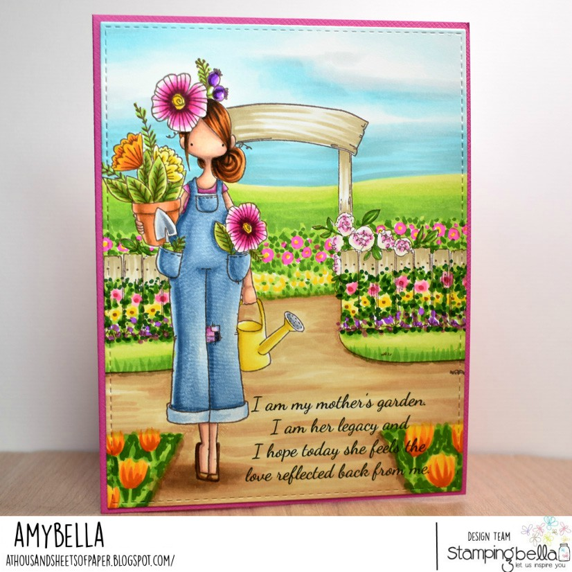 www.stampingbella.com: rubber stamps used: CURVY GIRL GARDENER and GARDEN BACKDROP.  Card by Amy Young.
