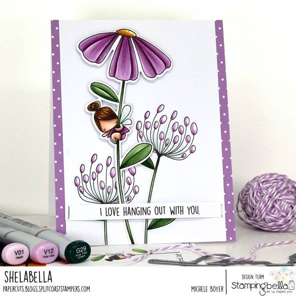 www.stampingbella.com: rubber stamp used DAISY FLORAL SET.  Card by Michele Boyer