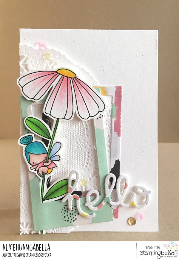 www.stampingbella.com: rubber stamp used DAISY FLORAL SET.  Card by Alice Huang