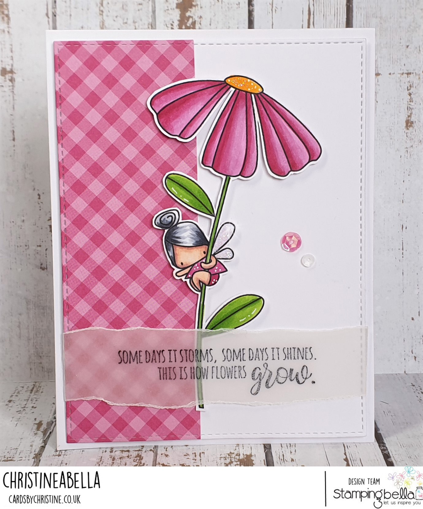 www.stampingbella.com: rubber stamp used DAISY FLORAL SET.  Card by Christine Levison