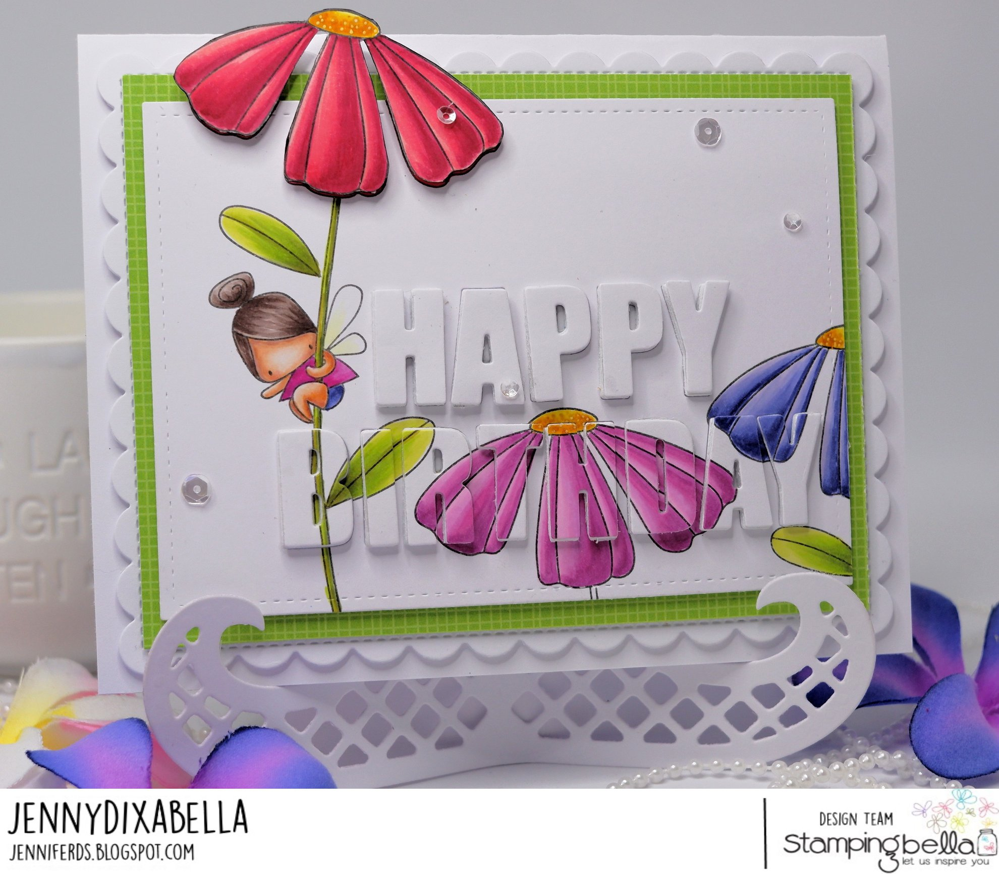 www.stampingbella.com: rubber stamp used DAISY FLORAL SET. card by Jenny Dix