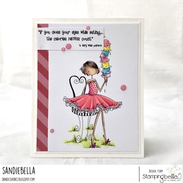 www.stampingbella.com: Rubber stamp used:  ISABELLA LOVES ICE CREAM.  Card by: SANDIE DUNNE
