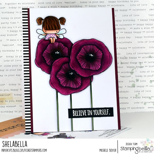 www.stampingbella.com: rubber stamp used  STRAIGHT UP FLORAL SET and our little bits FAIRY set. card by ALICE HUANG