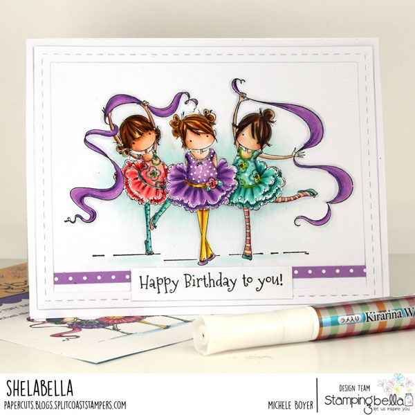 www.stampingbella.com: Rubber stamp used:  TINY TOWNIE TINY DANCERS.  Card by: Michele BOYER