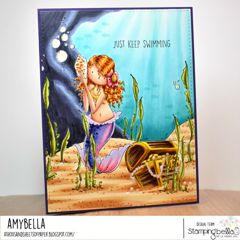 www.stampingbella.com: rubber stamp used : tiny townie mermaid set: card by Amy Young