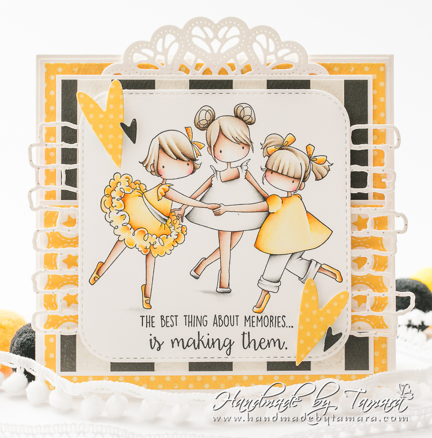 www.stampingbella.com: rubber stamp used: Tiny Townie Ring Around the Rosie. Card by Tamara Potocnik