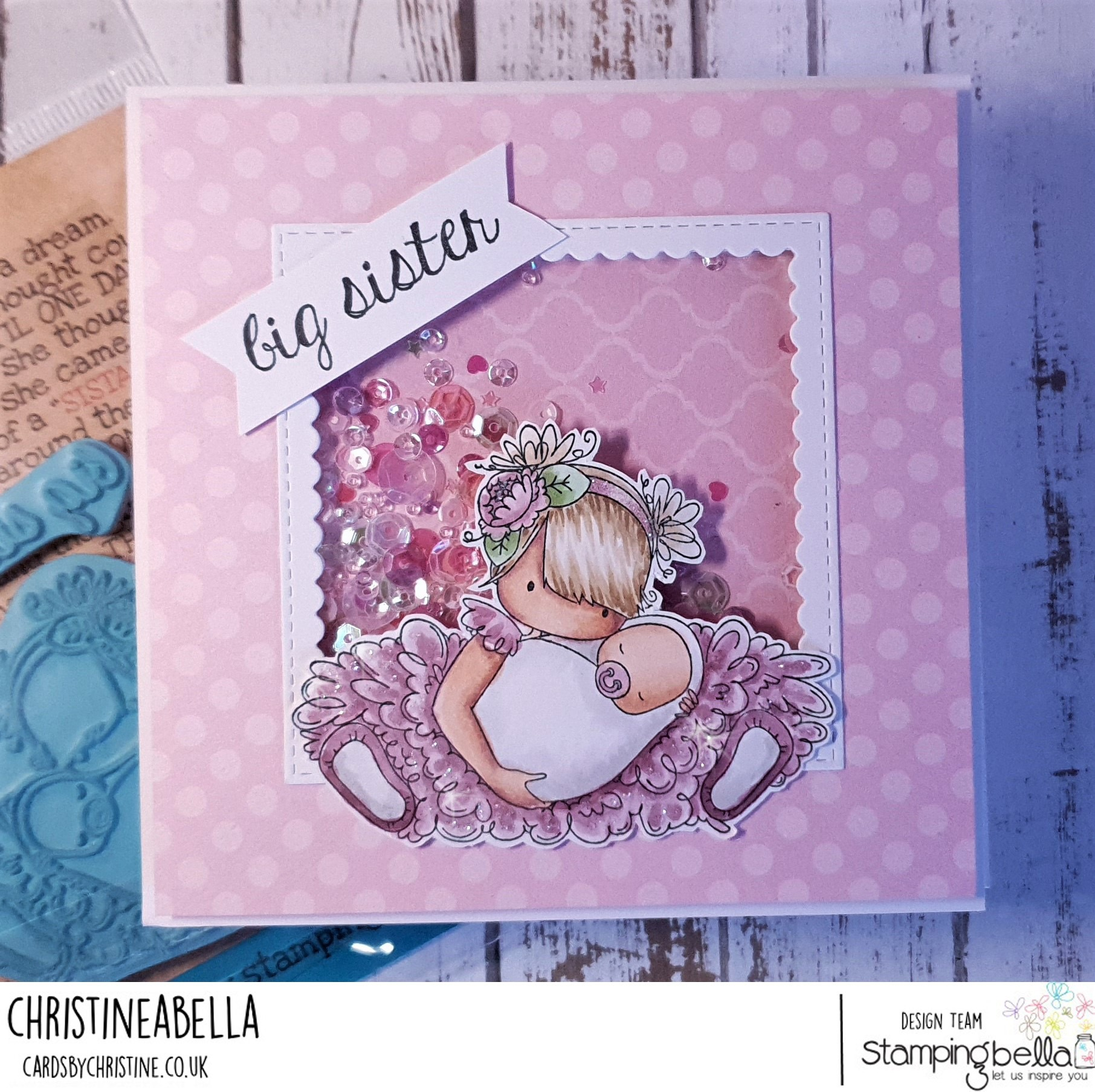 www.stampingbella.com: rubber stamp used: TINY TOWNIE BIG SISTER, card by Christine Levison