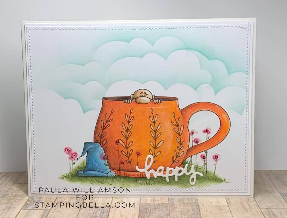 www.stampingbella.com: rubber stamp used: CAFFEINATED GNOME, card by PAULA WILLIAMSON