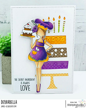 www.stampingbella.com: rubber stamp used: CURVY GIRL Baker Card by DEBRA JAMES