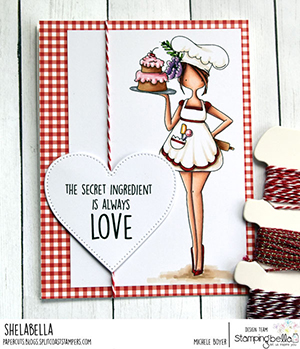 www.stampingbella.com: rubber stamp used: CURVY GIRL Baker Card by Michele boyer