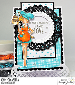 www.stampingbella.com: rubber stamp used: CURVY GIRL Baker Card by Jenny Dix