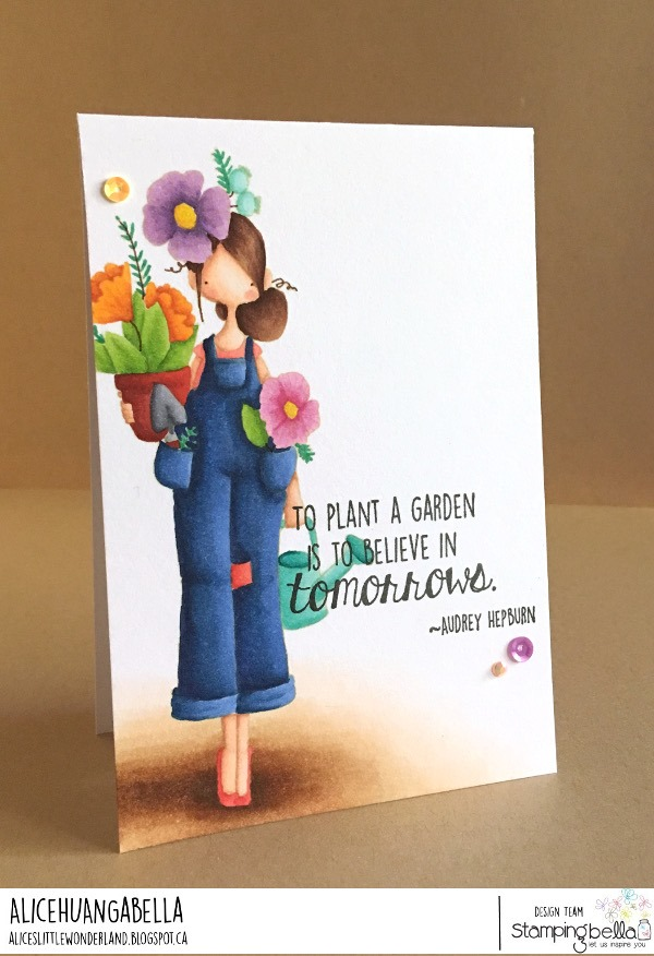 www.stampingbella.com: rubber stamp used: CURVY GIRL GARDENER, card by ALICE HUANG
