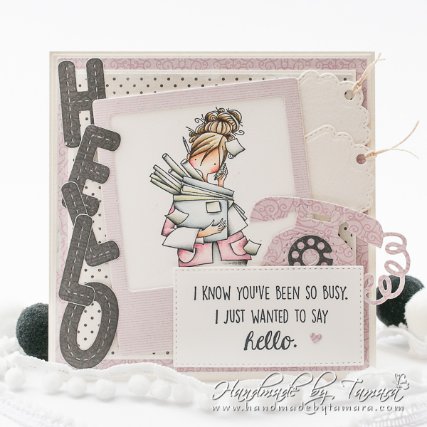 www.stampingbella.com: rubber stamp used CURVY GIRL IS BUSY.  Card by TAMARA POTOCNIK