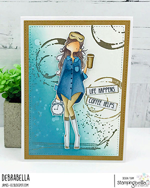 www.stampingbella.com: rubber stamp used: CURVY GIRL LOVES COFFEE. Card by Debra James