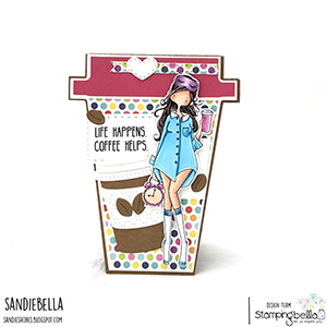 www.stampingbella.com: rubber stamp used: CURVY GIRL LOVES COFFEE. Card by SANDIE DUNNE