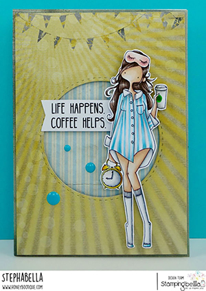www.stampingbella.com: rubber stamp used: CURVY GIRL LOVES COFFEE. Card by STEPHANIE HILL