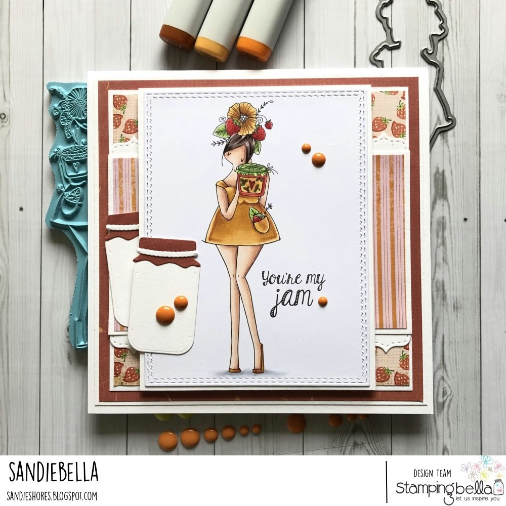 www.stampingbella.com: rubber stamp used CURVY GIRL LOVES JAM.  Card by Sandie Dunne