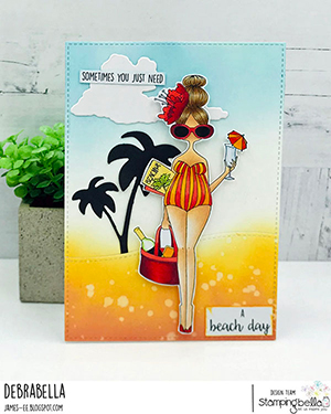 www.stampingbella.com: rubber stamp used: CURVY GIRL LOVES THE BEACH. Card by DEBRA JAMES