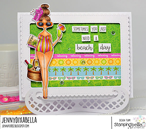 www.stampingbella.com: rubber stamp used: CURVY GIRL LOVES THE BEACH. Card by Jenny Dix