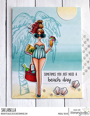 www.stampingbella.com: rubber stamp used: CURVY GIRL LOVES THE BEACH. Card by Michele Boyer