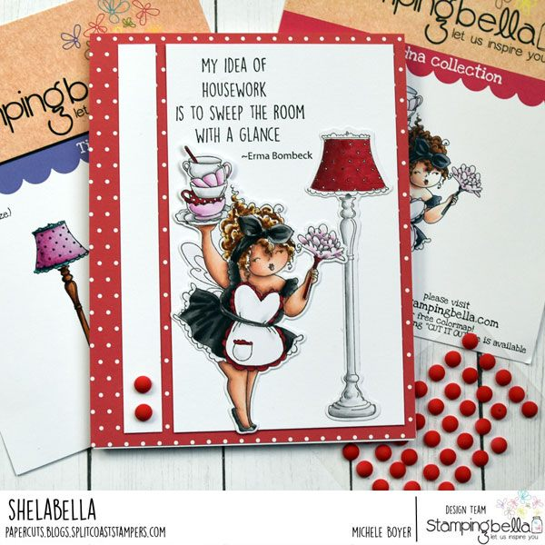 www.stampingbella.com: rubber stamp used: EDNA LOVES TO SWEEP, card by Michele Boyer