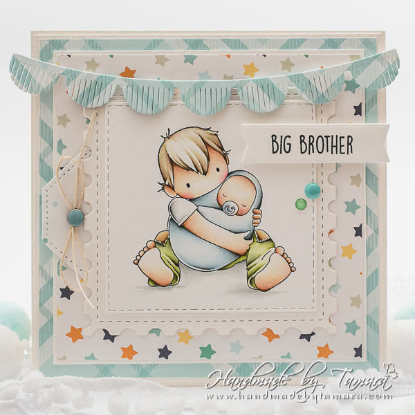www.stampingbella.com: rubber stamp used: TINY TOWNIE BIG BROTHER.  Card by Tamara Potocnik