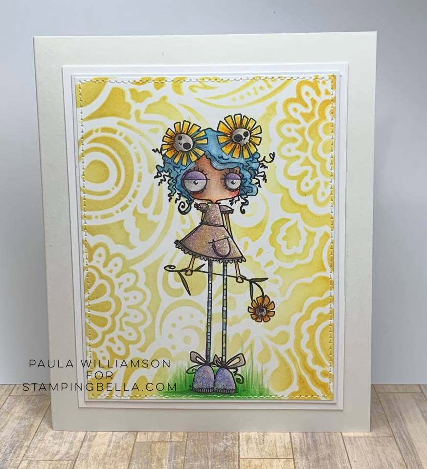 www.stampingbella.com: rubber stamp used LONG STEMMED ODDBALL   Card by Paula Williamson