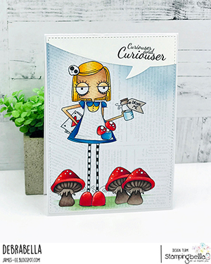www.stampingbella.com: rubber stamp used ODDBALL ALICE. Card by Debra James