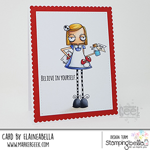 www.stampingbella.com: rubber stamp used ODDBALL ALICE. Card by Elaine Hughes