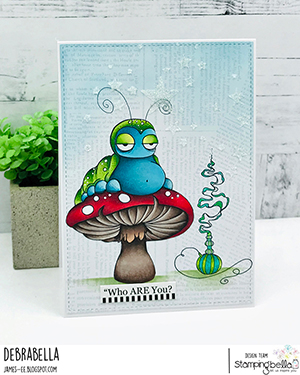 www.stampingbella.com: rubber stamp used ODDBALL CATERPILLAR Card by Debra James