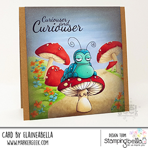www.stampingbella.com: rubber stamp used ODDBALL CATERPILLAR Card by Elaine Hughes