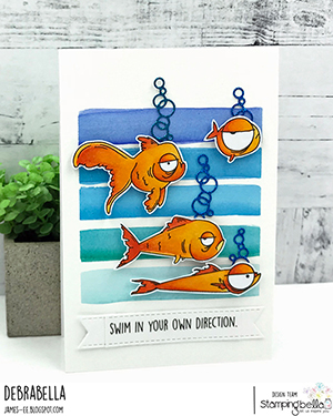 www.stampingbella.com: rubber stamp used: ODDBALL FISH SET. Card by Debra James