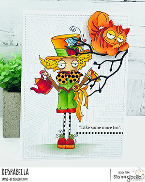 www.stampingbella.com: rubber stamp used ODDBALL MAD HATTER Card by Debra James