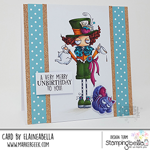 www.stampingbella.com: rubber stamp used ODDBALL MAD HATTER Card by Elaine Hughes
