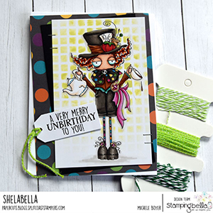 www.stampingbella.com: rubber stamp used ODDBALL MAD HATTER Card by Michele Boyer