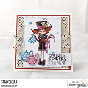 www.stampingbella.com: rubber stamp used ODDBALL MAD HATTER Card by Sandie Dunne