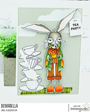 www.stampingbella.com: rubber stamp used ODDBALL March Hare Card by Debra James