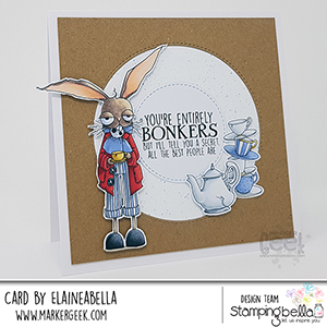 www.stampingbella.com: rubber stamp used ODDBALL March Hare Card by Elaine Hughes