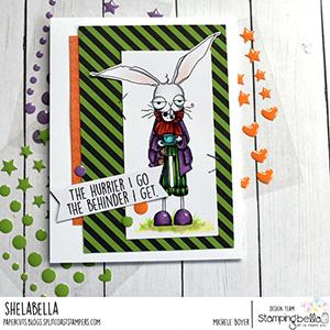 www.stampingbella.com: rubber stamp used ODDBALL March Hare Card by Michele Boyer