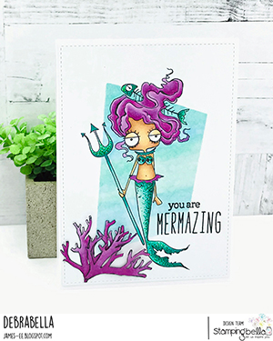 www.stampingbella.com: rubber stamp used: ODDBALL MERMAID SET. Card by Debra James