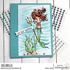 www.stampingbella.com: rubber stamp used: ODDBALL MERMAID SET. Card by Michele Boyer