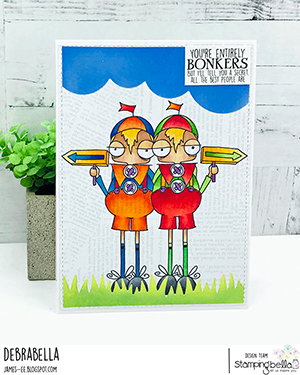 www.stampingbella.com: rubber stamp used ODDBALL TWEEDLE DEE AND TWEEDLE DUM Card by Debra James