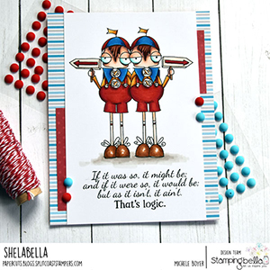 www.stampingbella.com: rubber stamp used ODDBALL TWEEDLE DEE AND TWEEDLE DUM Card by Michele Boyer