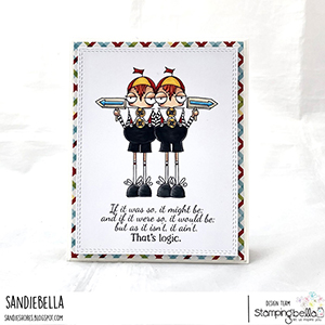 www.stampingbella.com: rubber stamp used ODDBALL TWEEDLE DEE AND TWEEDLE DUM Card by Sandie Dunne